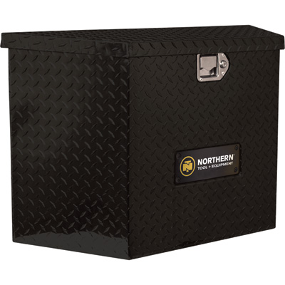 Northern Tool + Equipment Locking Trailer Tongue Gloss Black Tool Box — Tall Style, Aluminum, 34in.