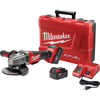 FREE SHIPPING — Milwaukee M18 FUEL 4 1/2in./5in. Grinder Kit — Two M18 RedLithium XC 5.0 Batteries, Paddle Switch, No-Lock, Model# 2780-22