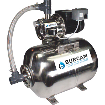 BurCam Shallow Well Jet Water Pump with 16-Gallon Tank — 900 GPH, 3/4 HP, 1in. Ports, Model# 506538SS