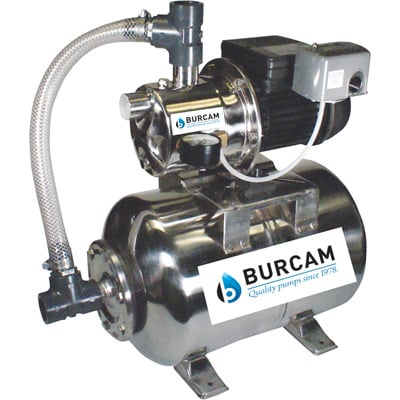 BurCam Stainless Steel Shallow Well Jet Pump with 6.6-Gallon Tank — 3/4 HP, 900 GPH, Model# 506547SS