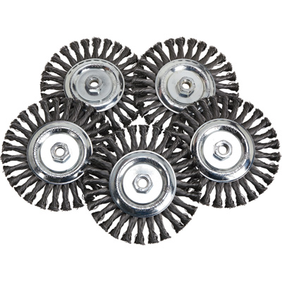 FREE SHIPPING — Klutch 7in. Twisted Knot Wire Wheels — 5-Pk.