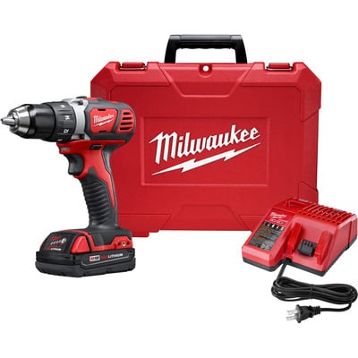 FREE SHIPPING — Milwaukee M18 Compact 1/2in. Drill Driver Kit — Two M18 Compact RedLithium 1.5Ah Batteries, Model# 2606-22CT