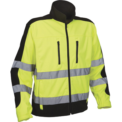 Utility Pro Men's Class 3 High Visibility Softshell Jacket with Teflon Fabric Protector — Lime/Black, 3XL, Model# UHV427