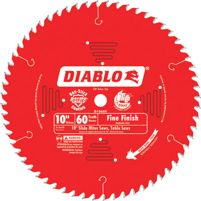 Diablo Fine Finish Circular Saw Blade — 10in., 60 Tooth, For Fine Crosscuts in Hardwood and Softwood, Model# D1060S