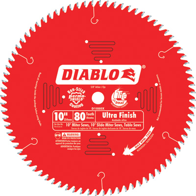 FREE SHIPPING — Diablo Ultra Finish Circular Saw Blade — 10in., 80 Tooth, For Fine Crosscuts in Hardwood and Softwood, Model# D1080X