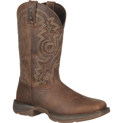 FREE SHIPPING — Durango Rebel 11in. Square-Toe Western Boots - Brown, Size 10 1/2, Model# DB4443
