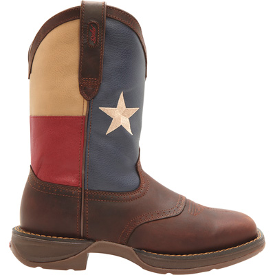 Durango Rebel Men's 11in. Texas Flag Work Boots — Dark Brown w/Texas Flag Graphic, Size 11 1/2, Model# DB4446