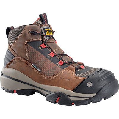 Carolina Men's Waterproof Safety Toe Hiker Boots — Brown/Black/Red, Size 11, Model# CA4551