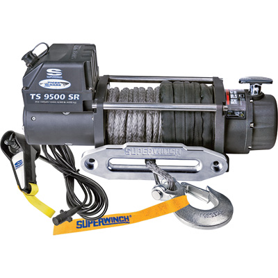 Superwinch Tiger Shark 12 Volt DC Powered Electric Winch with Remote — 9500-Lb. Capacity, Synthetic Rope, Model# 1595200