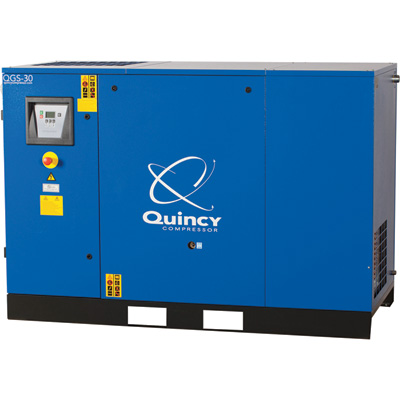 FREE SHIPPING — Quincy QGS Rotary Screw Air Compressor — 30 HP, 208/230-460 Volt, 3 Phase, 122 CFM, Base Mount, With Dryer, No Tank, Model# 4152016777
