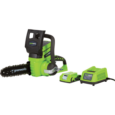 GreenWorks G-24 24 Volt Li-Ion Cordless Chainsaw — 10in. Bar, 3/8in. Chain Pitch, 2Ah, Model# 20362