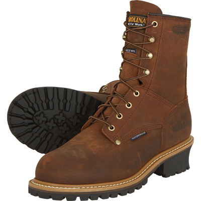 FREE SHIPPING — Carolina Men's 8in. Waterproof Insulated Logger Work Boots - Brown, Size 9 1/2 Wide, Model# CA4821