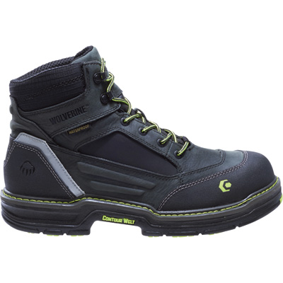 Wolverine Men's Overman 6in. Composite Toe Waterproof Work Boots —Black/Gray, Size 13 Extra Wide, Model# W10484