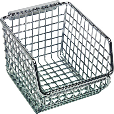 Quantum Wire Mesh Hanging/Stacking Bin —  4 1/4in.W x 5 1/4in.D x 3in.H, Pack of 20, Model# QMB510C