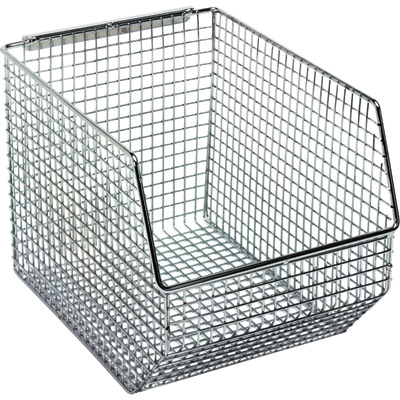Quantum Wire Mesh Hanging/Stacking Bin —  8in.W x 10 1/2in.D x 7in.H, Pack of 10, Model# QMB539C