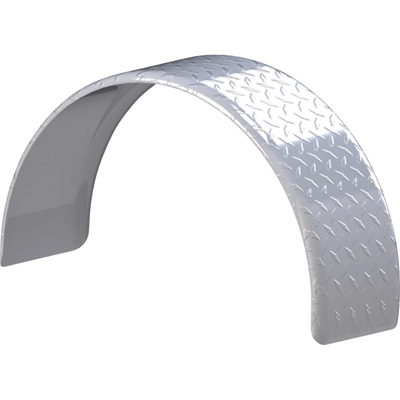 Tow Zone Single Round Aluminum Tread Fender — Fits 13in. Tires, 28in.L x 9in.W x 16in.H