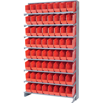 Quantum Store-More Pick Rack Shelf with Bins — 36in.W x 24in.D x 60in.H, Includes 64 17 7/8in.L x 4 1/8in.W x 6in.H Bins