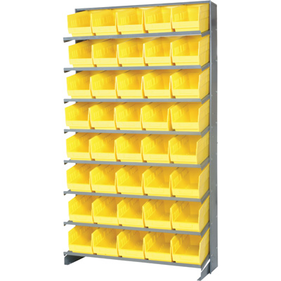 Quantum Storage Store-More Single Side Sloped Shelving Unit With 40 Bins — 36in.W x 12in.D x 60in.H, Yellow, Model# QPRS-202YL