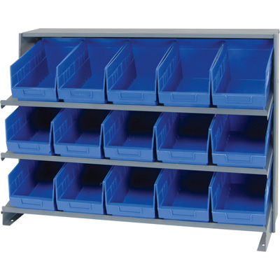 Quantum Storage Store-More Sloped Bench Rack Shelving Unit with 15 Bins — 36in.W x 12in.D x 21in.H, Blue, Model# QPRHA-202BL