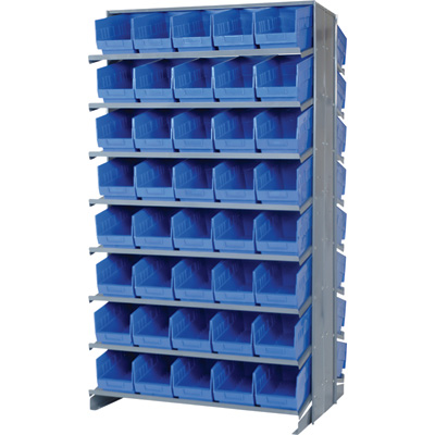 Quantum Double-Sided Store-More Pick Rack Shelf with Bins — 36in.W x 24in.D x 63 1/2in.H, Includes 80 11 5/8in.L x 6 5/8in.W x 6in.H Bins, Model# QPRD-203BL