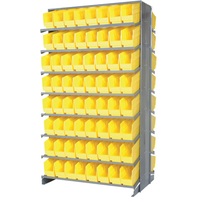 Quantum Double-Sided Store-More Pick Rack Shelf with Bins — Yellow, 36in.W x 24in.D x 63 1/2in.H, Includes 128 11 5/8in.L x 4 1/8in.W x 6in.H Bins