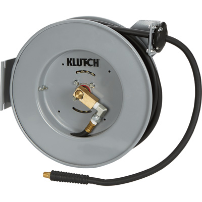 Klutch Compact Auto Rewind Air Hose Reel — With  3/8in. x 50ft. Hybrid Hose, Max. 300 PSI
