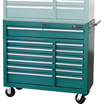 Excel 13-Drawer Rolling Tool Cabinet — 880-Lb. Capacity, Model# TBR4013X-Teal