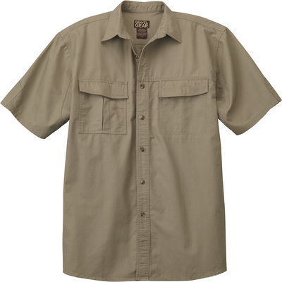 FREE SHIPPING - Gravel Gear Men's Cotton Ripstop Short Sleeve Work Shirt with Teflon Fabric Protector — Khaki, 2XL