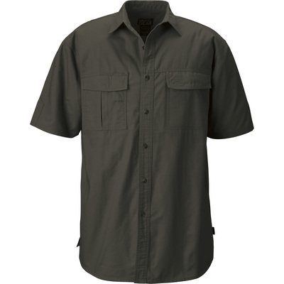 FREE SHIPPING - Gravel Gear Men's Cotton Ripstop Short Sleeve Work Shirt with Teflon Fabric Protector — Moss, Large