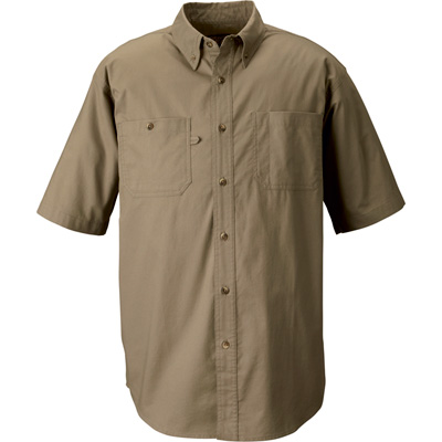 FREE SHIPPING — Gravel Gear Men's Wrinkle-Free Short Sleeve Work Shirt with Teflon Fabric Protector — Khaki, Medium