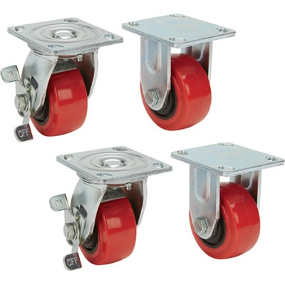 Ironton Nonmarking Polyurethane Casters — 4-Pack, 4in.