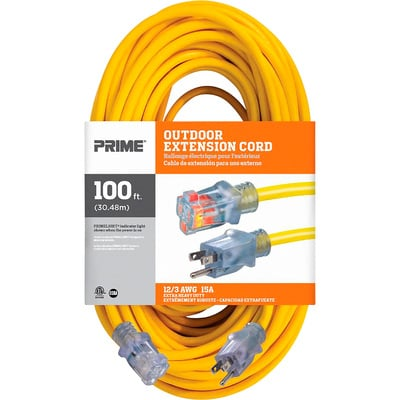 Prime Wire & Cable Contractor Tough Outdoor Extension Cord — 100-Ft., 12/3, 15 Amp, 125 Volt, 1,875 Watt, Yellow, Model# EC511835