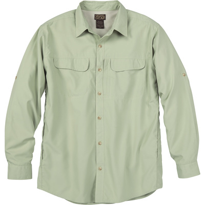 FREE SHIPPING - Gravel Gear Men's UPF 30 Quick-Dry Polyester Ripstop Shirt - Long Sleeve, Light Sage, 2XL