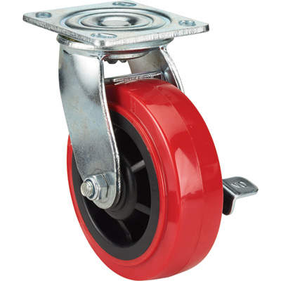 Ironton Standard-Duty 6in. Swivel Polyurethane Caster with Brake — 700-Lb. Capacity, Red