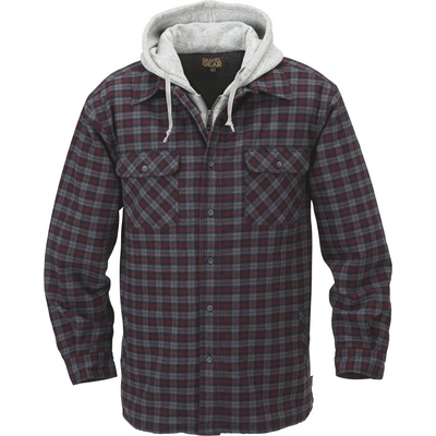 FREE SHIPPING — Gravel Gear Sherpa-Lined Hooded Flannel Shirt Jacket — Large, Black/Red Plaid