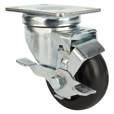 Ironton Light-Duty 3in. Swivel Nonmarking Polyolefin Caster with Brake — 250-Lb. Capacity, Black