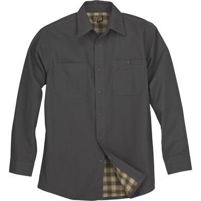 FREE SHIPPING — Gravel Gear Flannel-Lined Cotton Canvas Shirt Jacket — Mushroom, XL