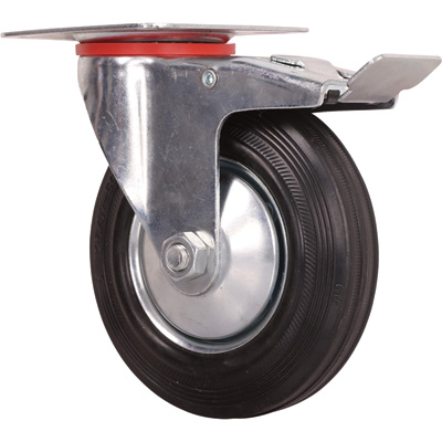 Ironton 5in. Swivel Rubber Caster with Brake — 220-Lb. Capacity