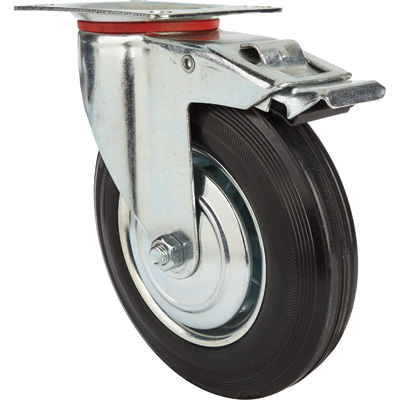 Ironton 8in. Swivel Rubber Caster with Brake — 400-Lb. Capacity