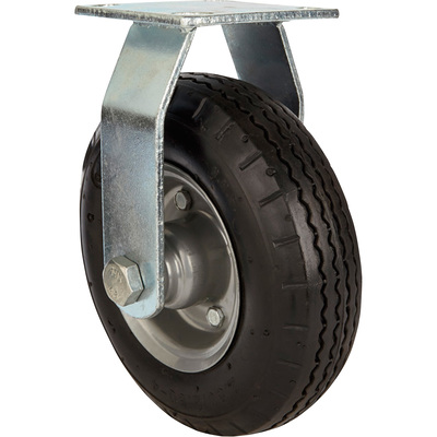 Strongway 10in. Rigid Flat-Free Rubber Foam-Filled Caster — 300-Lb. Capacity, Sawtooth Tread