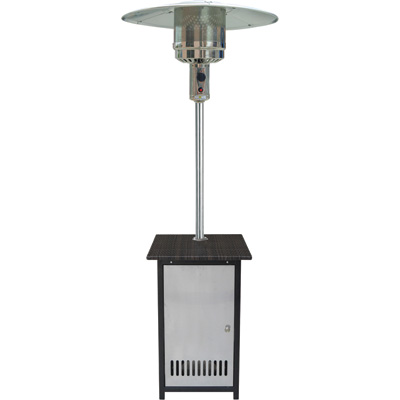 HomComfort Patio Heater with Wicker Stand — 50,000 BTU, Propane, Stainless Steel, Model# HCPHSSWKR