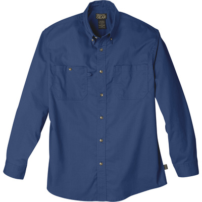 FREE SHIPPING — Gravel Gear Men's Wrinkle-Free Long Sleeve Work Shirt with Teflon Fabric Protector — Blue, 2XL