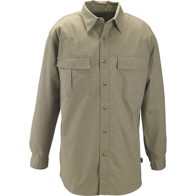 FREE SHIPPING — Gravel Gear Men's Cotton Ripstop Long Sleeve Work Shirt with Teflon Fabric Protector — Khaki, XL