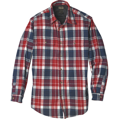 FREE SHIPPING - Gravel Gear Men's Thermal-Lined Flannel Long Sleeve Shirt - Red/Blue Plaid, Large