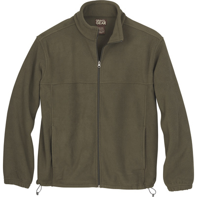 FREE SHIPPING — Gravel Gear Men's Zip-Up Fleece Jacket — Olive, Large