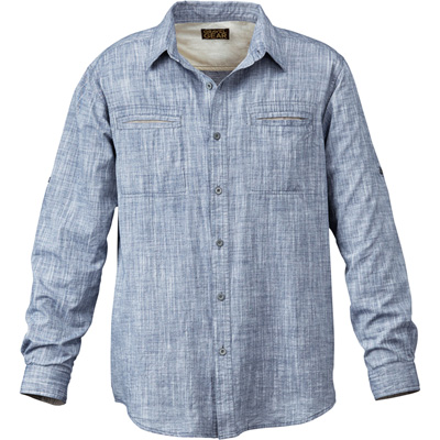 FREE SHIPPING — Gravel Gear Long Sleeve Chambray Shirt with Teflon Fabric Protector — Navy, XL