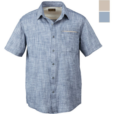Gravel Gear Men's Short Sleeve Chambray Shirt with Teflon Fabric Protector