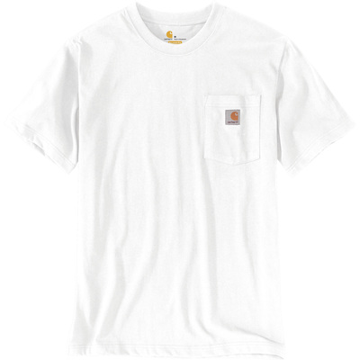 Carhartt Men's Workwear Short Sleeve Pocket T-Shirt - White, Small, Regular Style, Model# K87