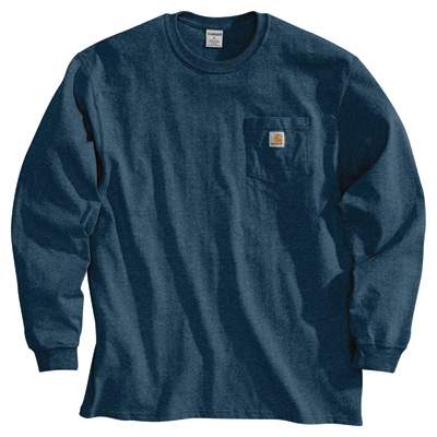 Carhartt Men's Workwear Long Sleeve Pocket T-Shirt - Navy, Large, Tall Style, Model# K126 TLL