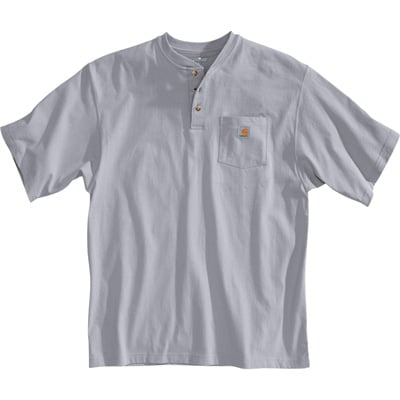 Carhartt Men's Short Sleeve Workwear Henley - Heather Gray, Large, Regular Style, Model# K84